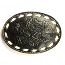 Acorn Nuts Embossed Black Tony Lama Leather belt buckle