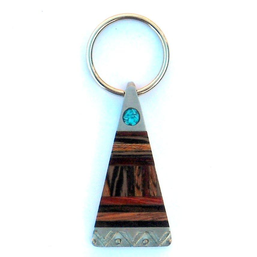 FOB Exotic Zebrawood Turquoise Pewter Key Ring