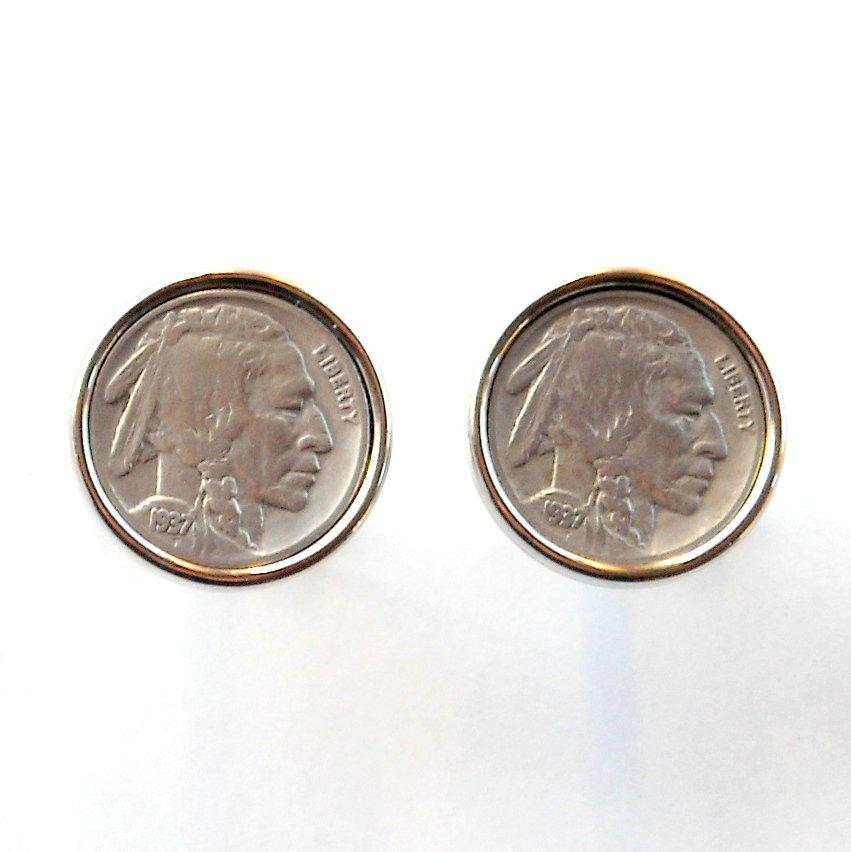 Indian Head 1937 Coin Vintage Buffalo Nickel Cufflinks