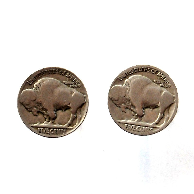 Real Buffalo Coin Vintage Indian Head Nickel Cufflinks