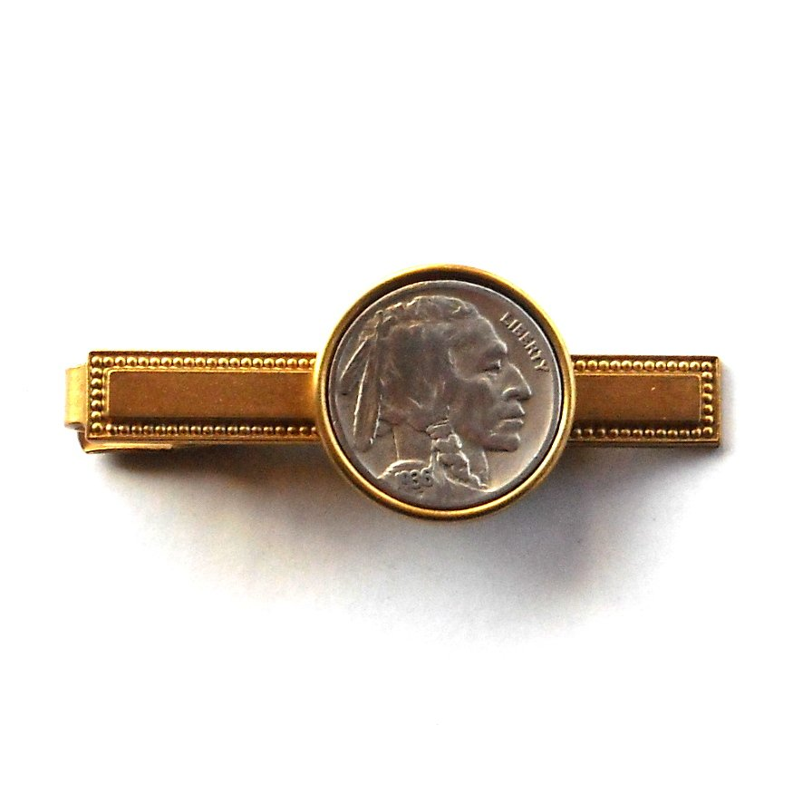Genuine Indian Head Buffalo Nickel Coin Vintage Brass Tie Slide Clip