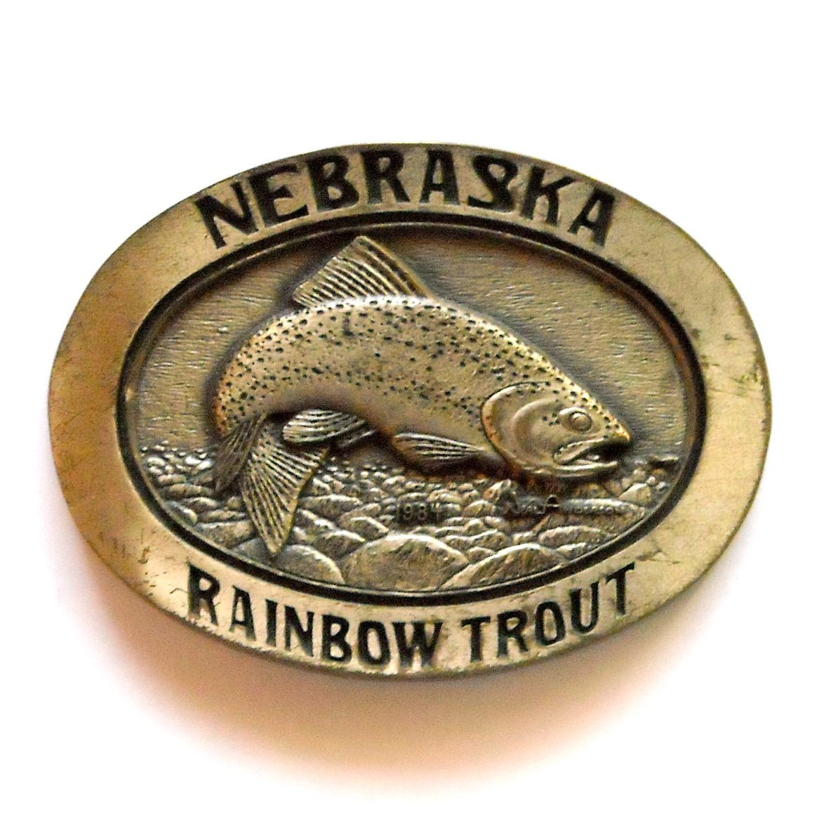 Nebraska Rainbow Trout Award Design solid brass Limited Edition # 114 belt buckle