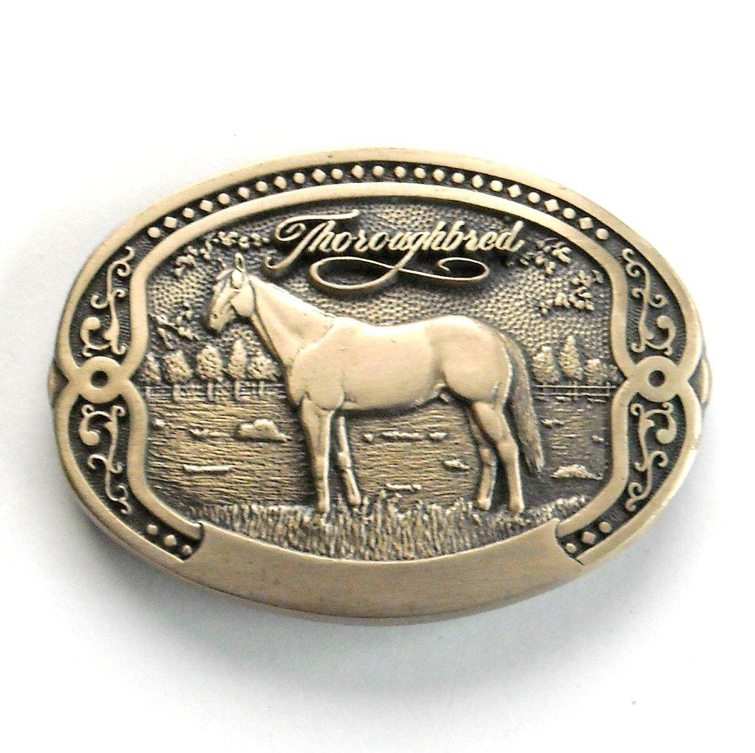 Thoroughbred Tony Lama Vintage Horse Breeder Solid Brass Belt Buckle
