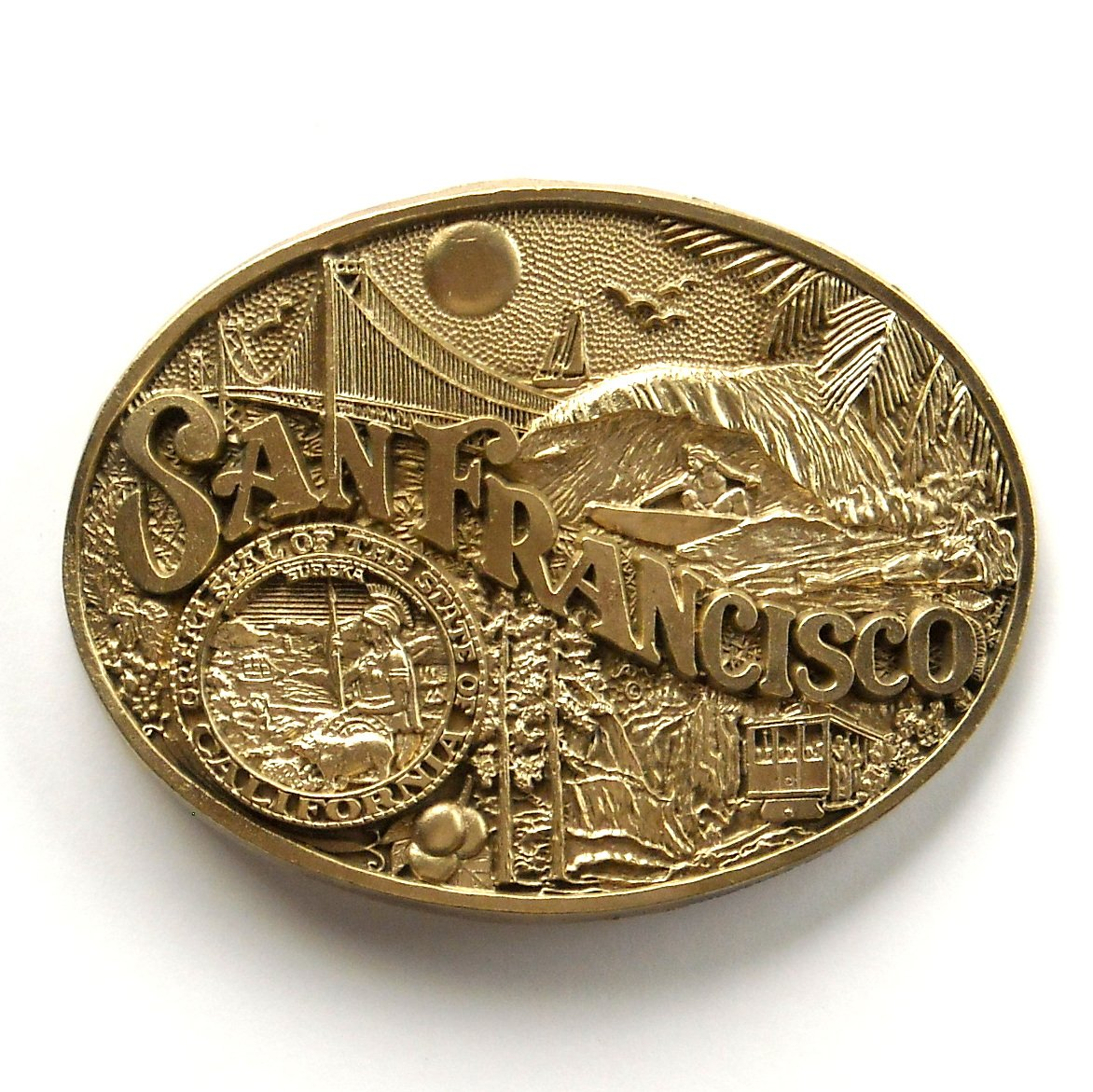 San Francisco Vintage California State Seal Award Design Brass Belt Buckle