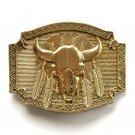 Buffalo Skull Native Feathers Vintage Montana Silversmiths Brass Belt Buckle