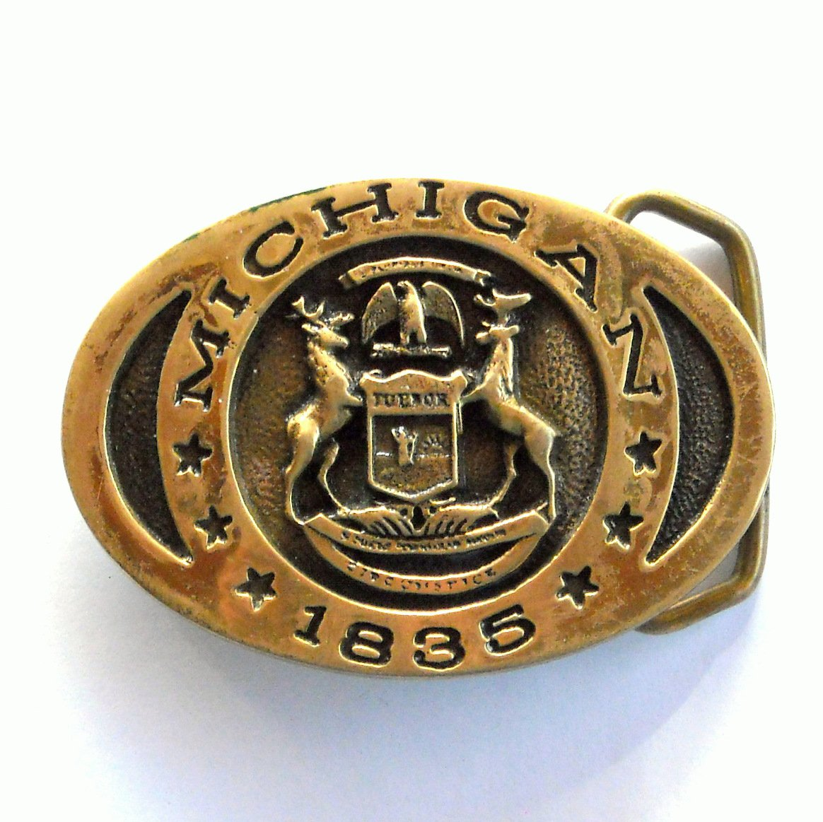 Vintage Michigan State Seal Heritage Mint EB 0610 Solid Brass belt buckle