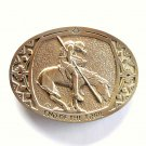 End Of The Trail Vintage Solid Brass Montana Silversmiths Belt Buckle