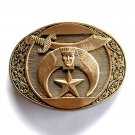 Shriner Crescent Moon Vintage Award Design Solid Brass Oval belt buckle
