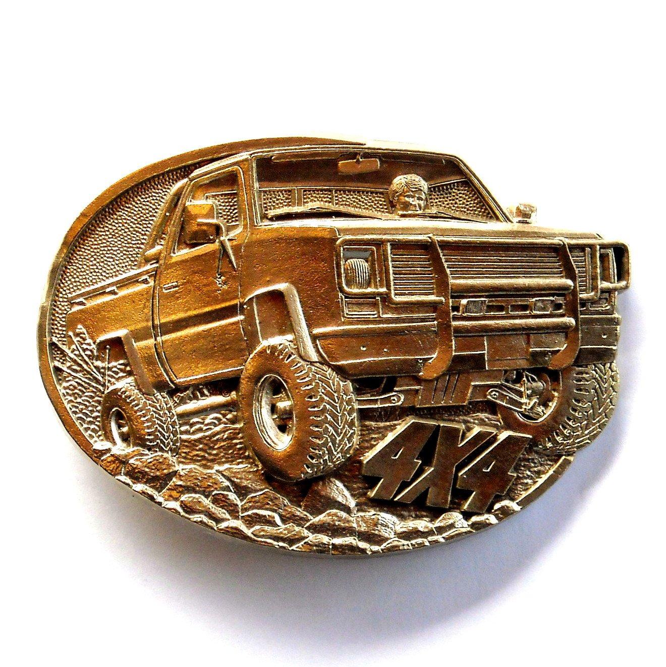 4x4 Off Road PickUp Truck Vintage Award Design Solid Brass Belt Buckle
