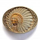 Big American Tribal Chief Vintage Award Design Solid Brass Belt Buckle