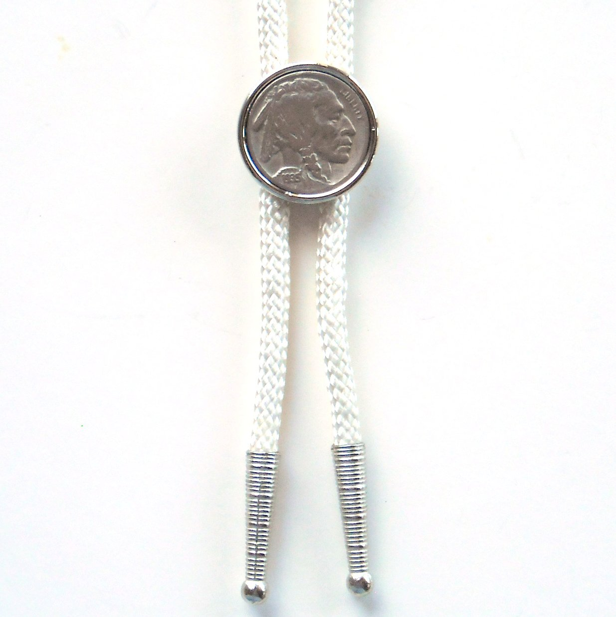 Indian Head 1935 Real Nickel Coin Vintage White Bolo Bootlace Tie
