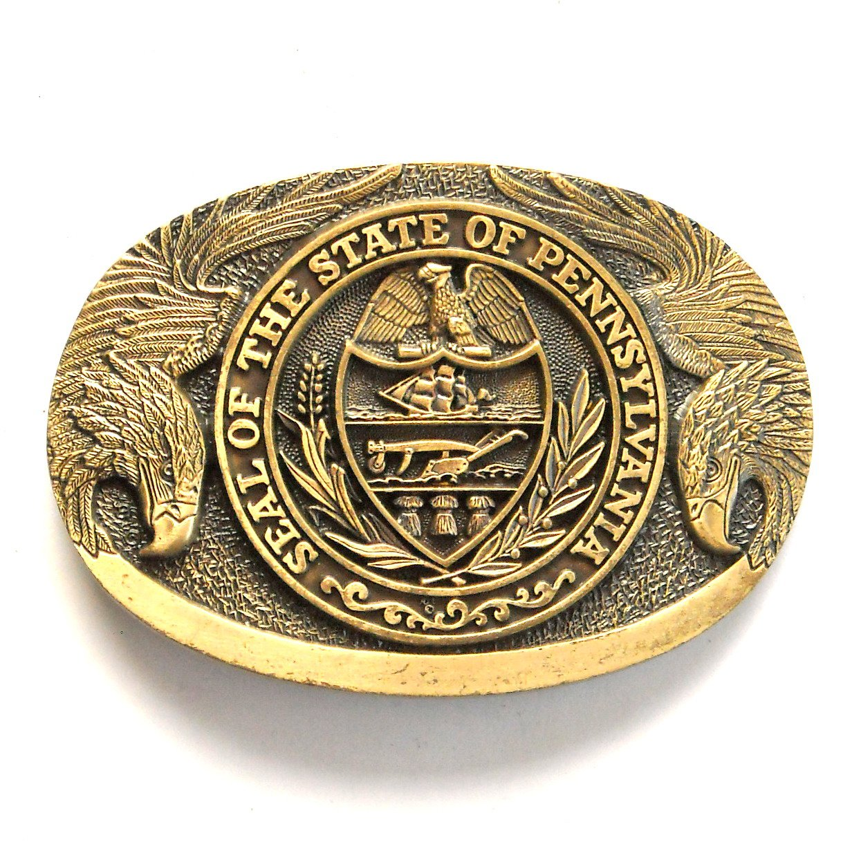 Great Seal State Of Pennsylvania Award Design Solid Brass Belt Buckle