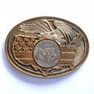America Bald Eagle 1970s Half Dollar Award Design Solid Brass Belt Buckle