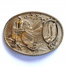 Cowboy Trophy Award Design Solid Brass Oval Belt Buckle
