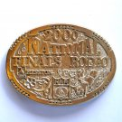 National Finals Rodeo Hesston NFR 2000 Montana Silversmiths Solid Brass Large Belt Buckle