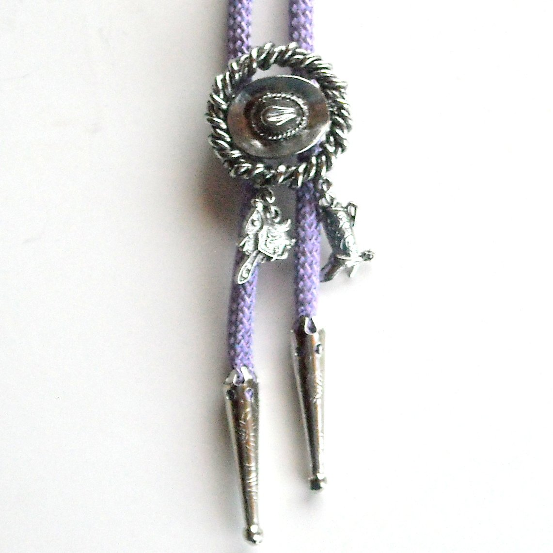 Cowboy Hat Saddle Boot Vintage Pewter Purple Bolo Bootlace Tie