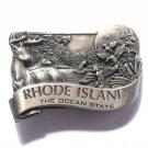 Rhode Island Ocean State Bergamot Pewter Belt Buckle
