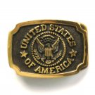 United States Of America Vintage Heritage Mint Belt Buckle and Leather Pouch