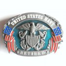 United States Navy Retired Military Siskiyou Pewter Belt Buckle