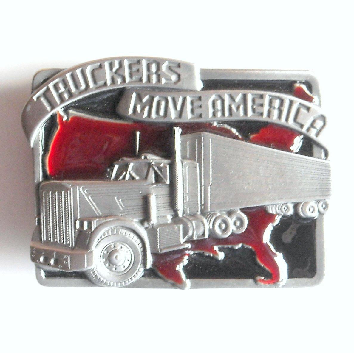 Truckers Move America 3D Siskiyou Pewter Belt Buckle