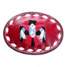 Phoenix Eagle Embroidered Tony Lama Red Leather Belt Buckle