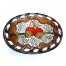 Oak Nuts Acorns Tony Lama Tooled White Lacing Leather Belt Buckle