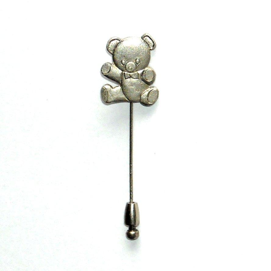 My Teddy Bear Silver Color Vintage Necktie Stick Clutch Pin