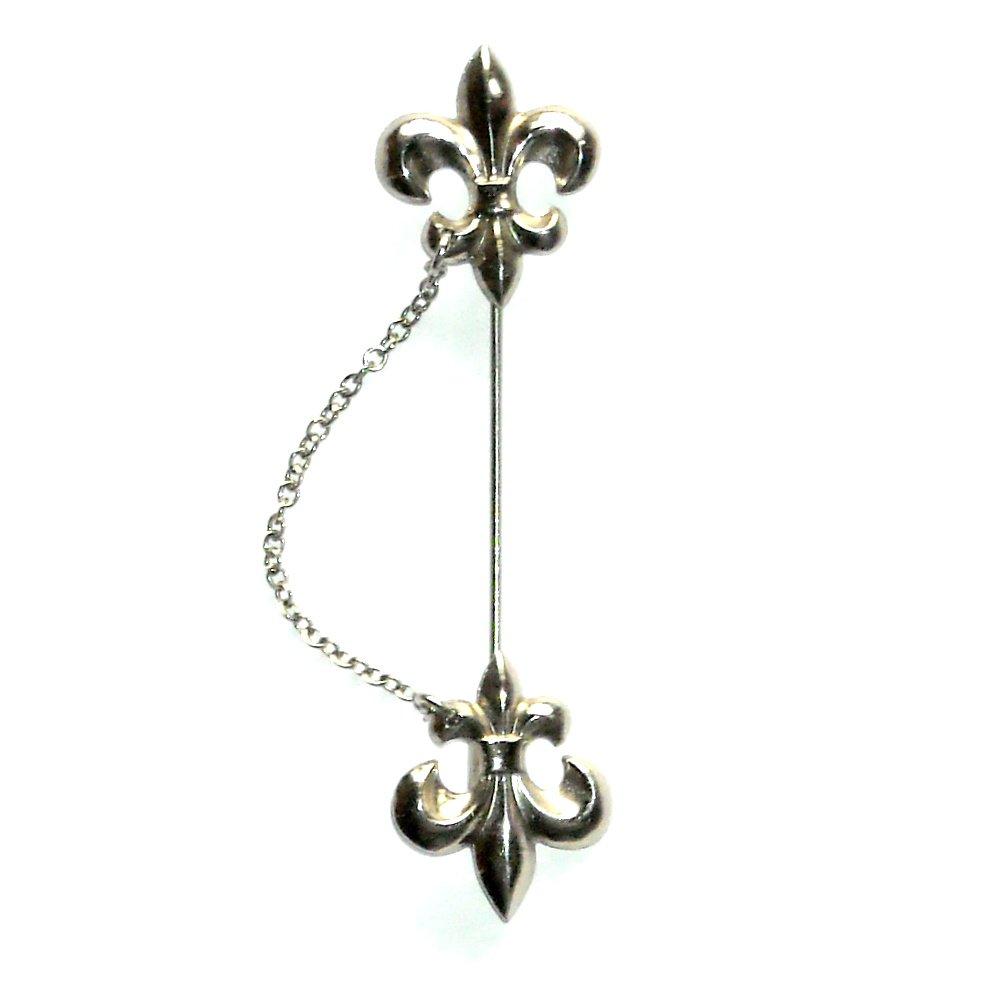 Scout Logo Vector Fleur De Lys Silver Color Vintage Necktie Stick Chain Pin