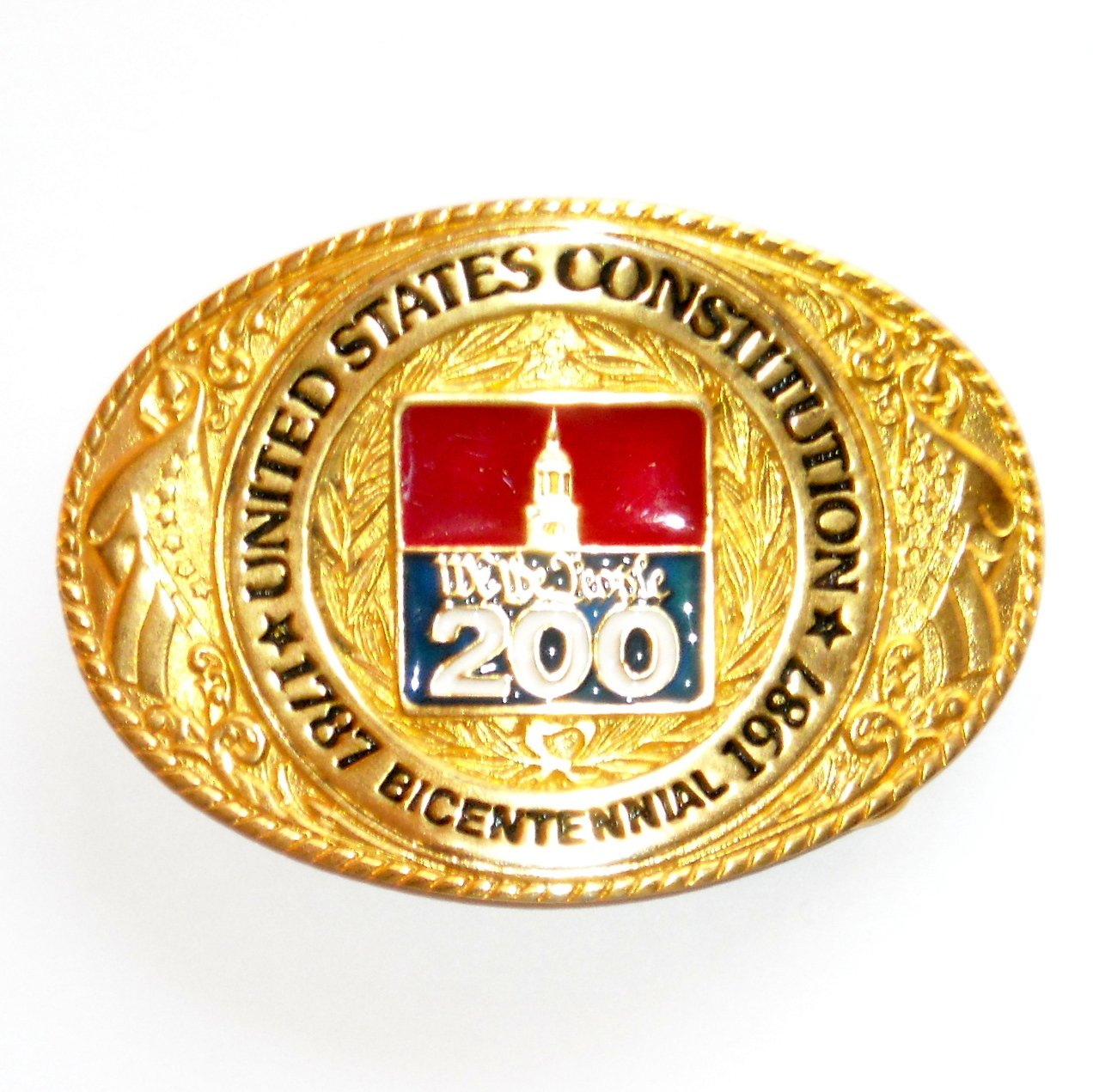 United States Constitution 24K Gold Plated Made In USA Belt Buckle