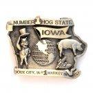 Iowa Number One Hog State Vintage Pewter Belt Buckle