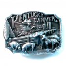 Kentucky Farmer 1986 Commemorative 3D pewter alloy belt buckle