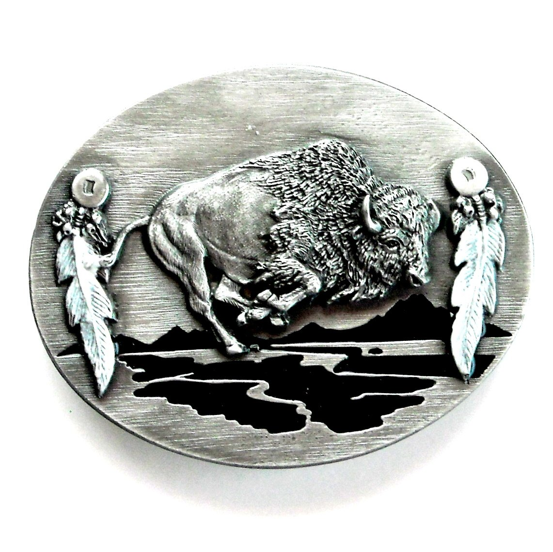 Buffalo Running 3D Siskiyou Pewter Belt Buckle