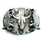 Western Cutout Eagles Skull 3D Siskiyou Pewter Belt Buckle