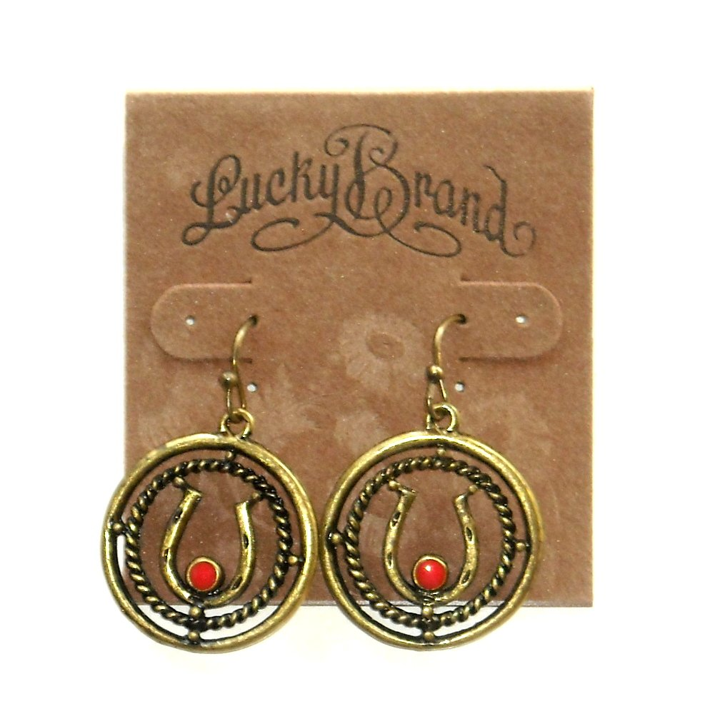 Horseshoe Gold Tone Round Drop Lucky Brand Earrings