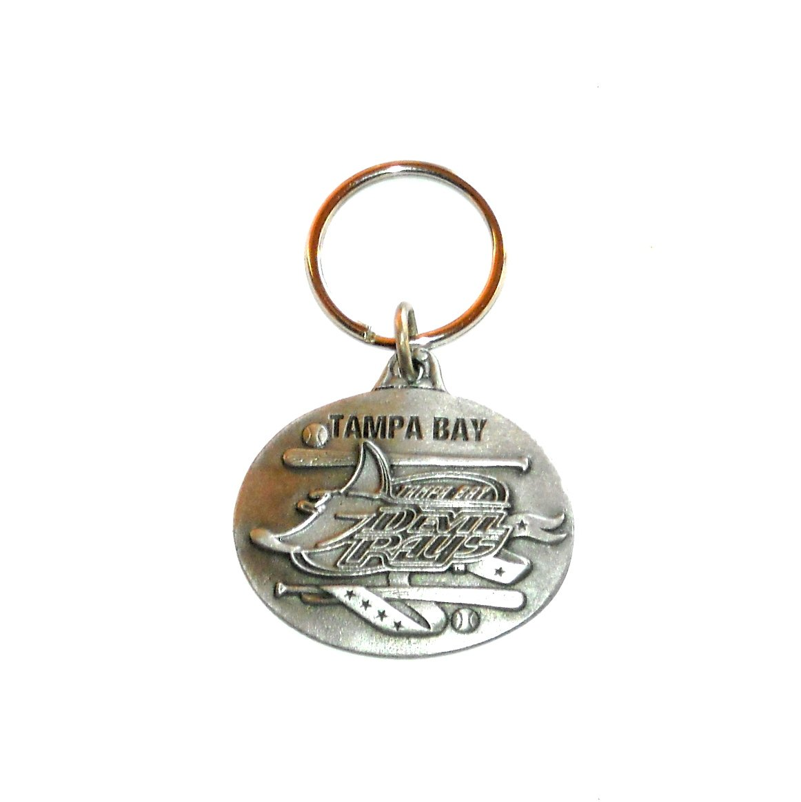Tampa Bay Devil Rays Baseball Pewter Fob Key Ring Keychain