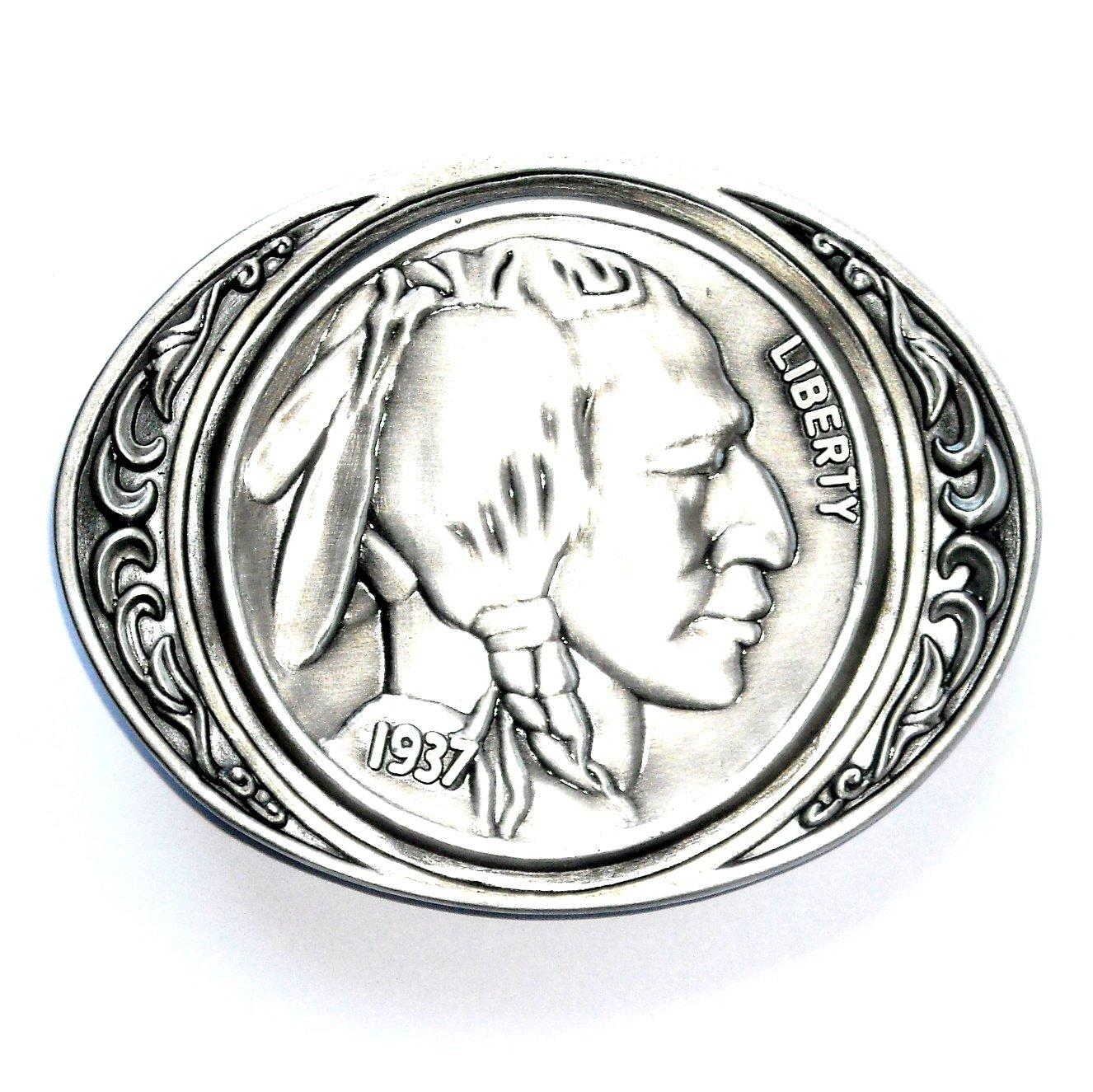 Indian Head 1937 Nickel Siskiyou Pewter Belt Buckle