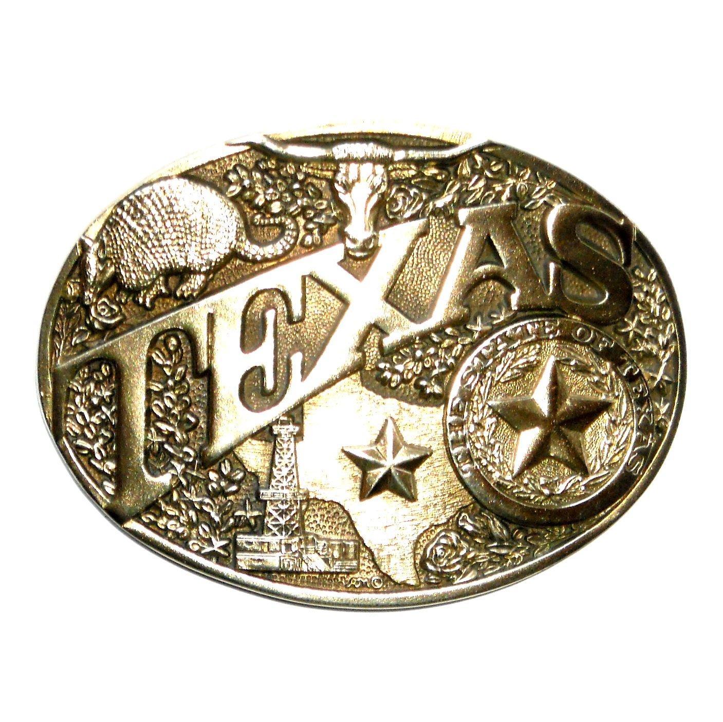 Texas State Seal ADM Vintage Solid Brass Belt Buckle