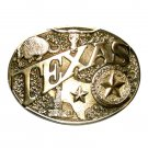Texas State Seal ADM Vintage Solid Brass Belt Buckle