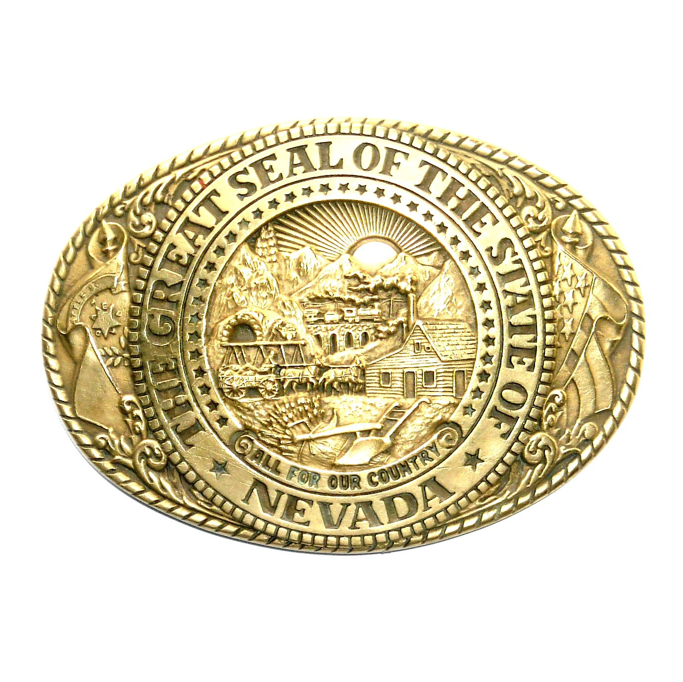 Great Seal State Of Nevada Solid Brass Tony Lama Belt Buckle