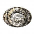 Great Seal State Of Kansas Tony Lama Solid Brass Belt Buckle