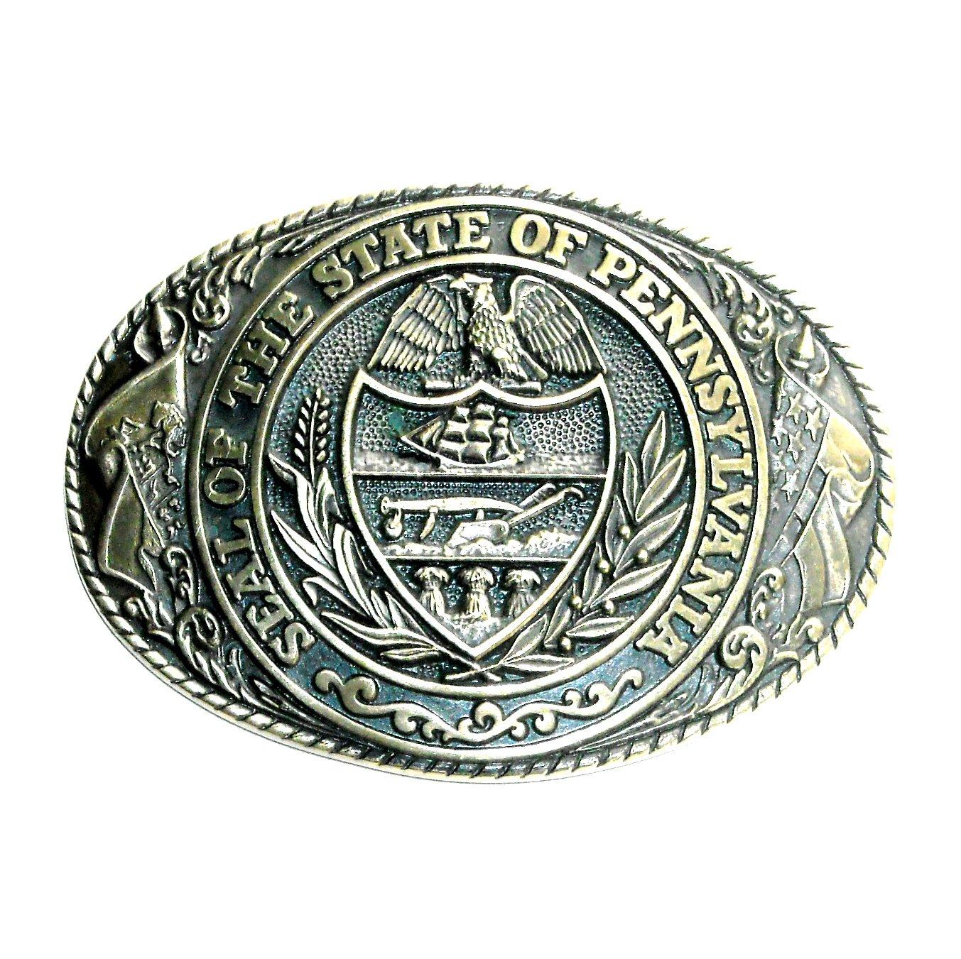 Great Seal Pennsylvania State Tony Lama Brass Belt Buckle