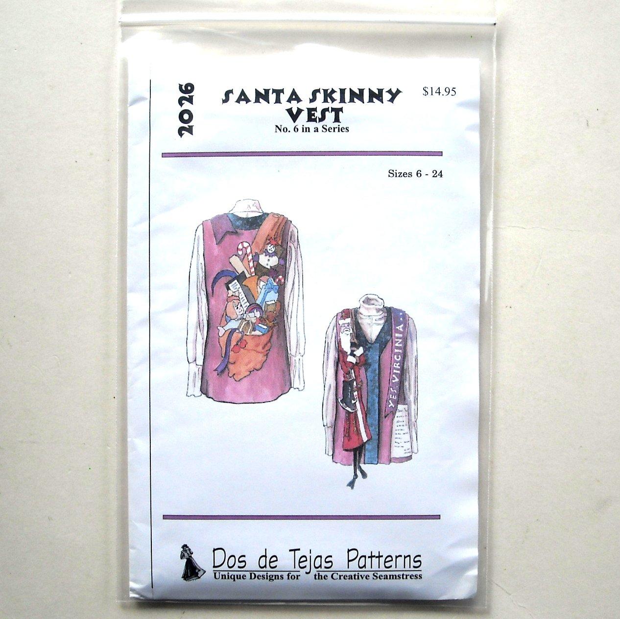 Misses Santa Skinny Vest Dos De Tejas Sewing Pattern 2026