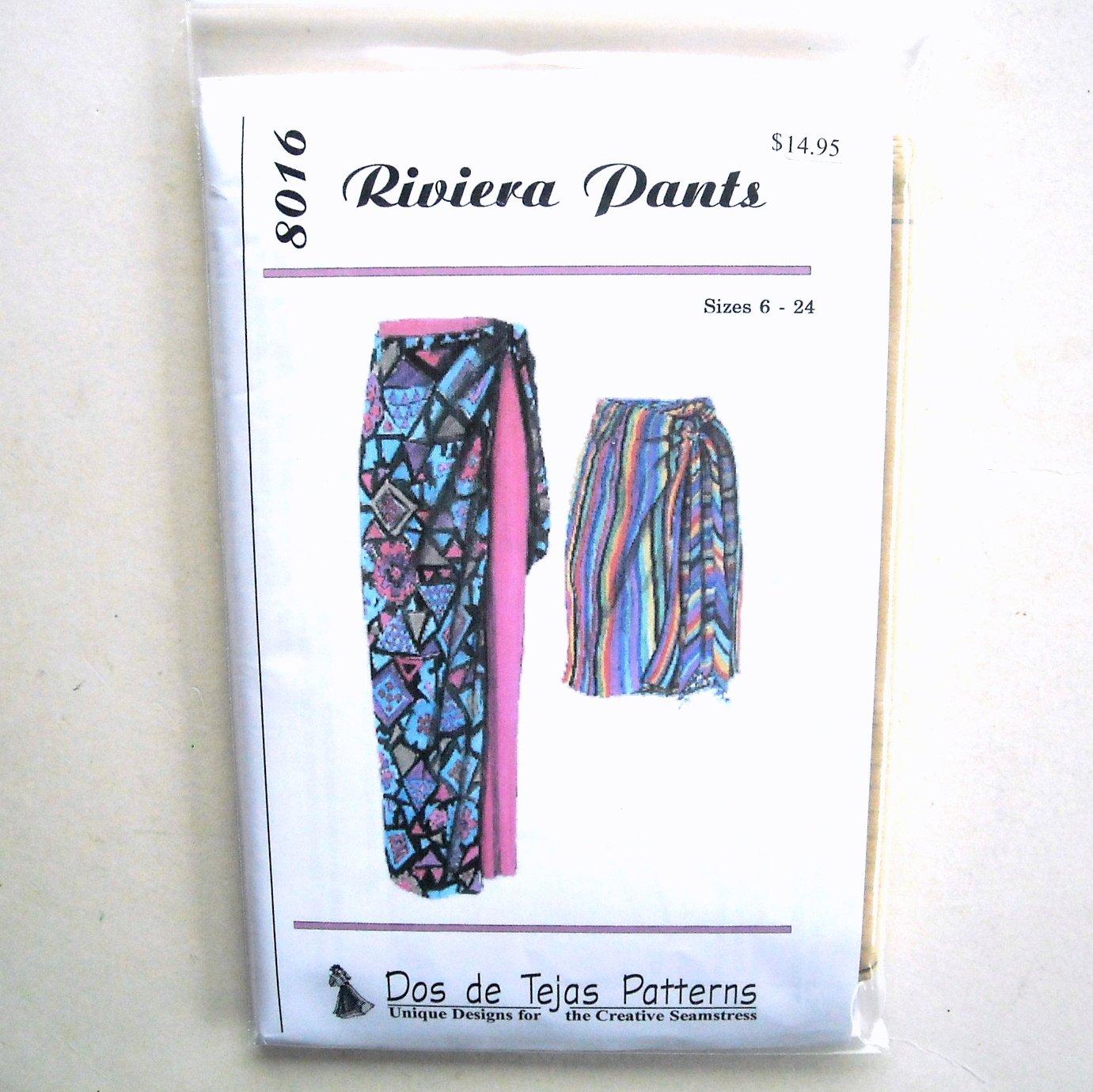 Misses Riviera Pants Dos De Tejas Sewing Pattern 8016