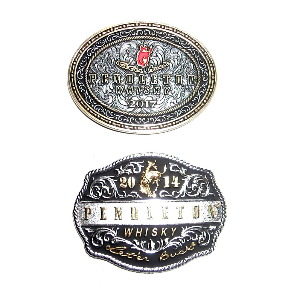 Pendleton Cowboy Rodeo Whisky 2017 2014 Montana Silversmiths Belt Buckles