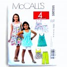 Girls Tops Dresses Shorts Capri Pants 4 Great Looks McCalls Sewing Pattern M6065