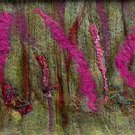 Pink Flowers Needle Felted Original Hand Crafted Fiber Art