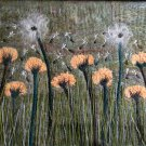 Sea Of Dandelions Flowers Needle Felted Hand Embroidered Original Mixed Media Art