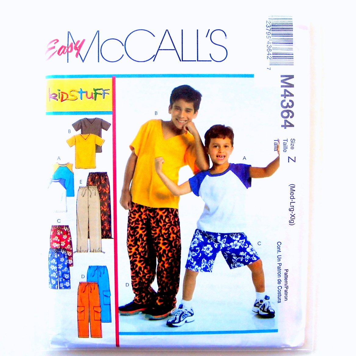 Childrens Boys TShirts Shorts 2 Lengths Pants M L XL McCalls Sewing Pattern M4364