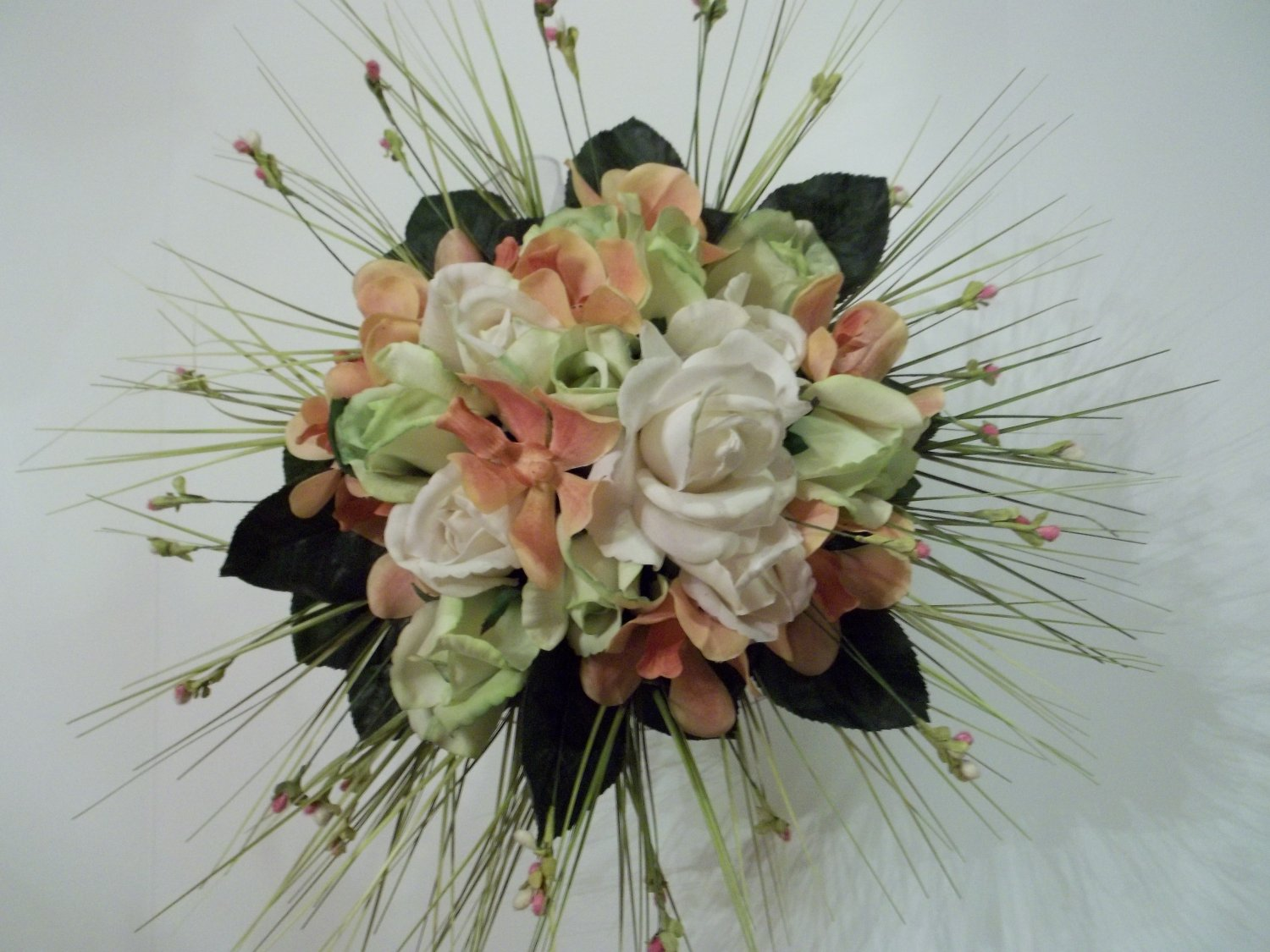 """Ready to ship. True Touch 12"""" Round Bride's bouquet. They look & feel like real Flowers."""