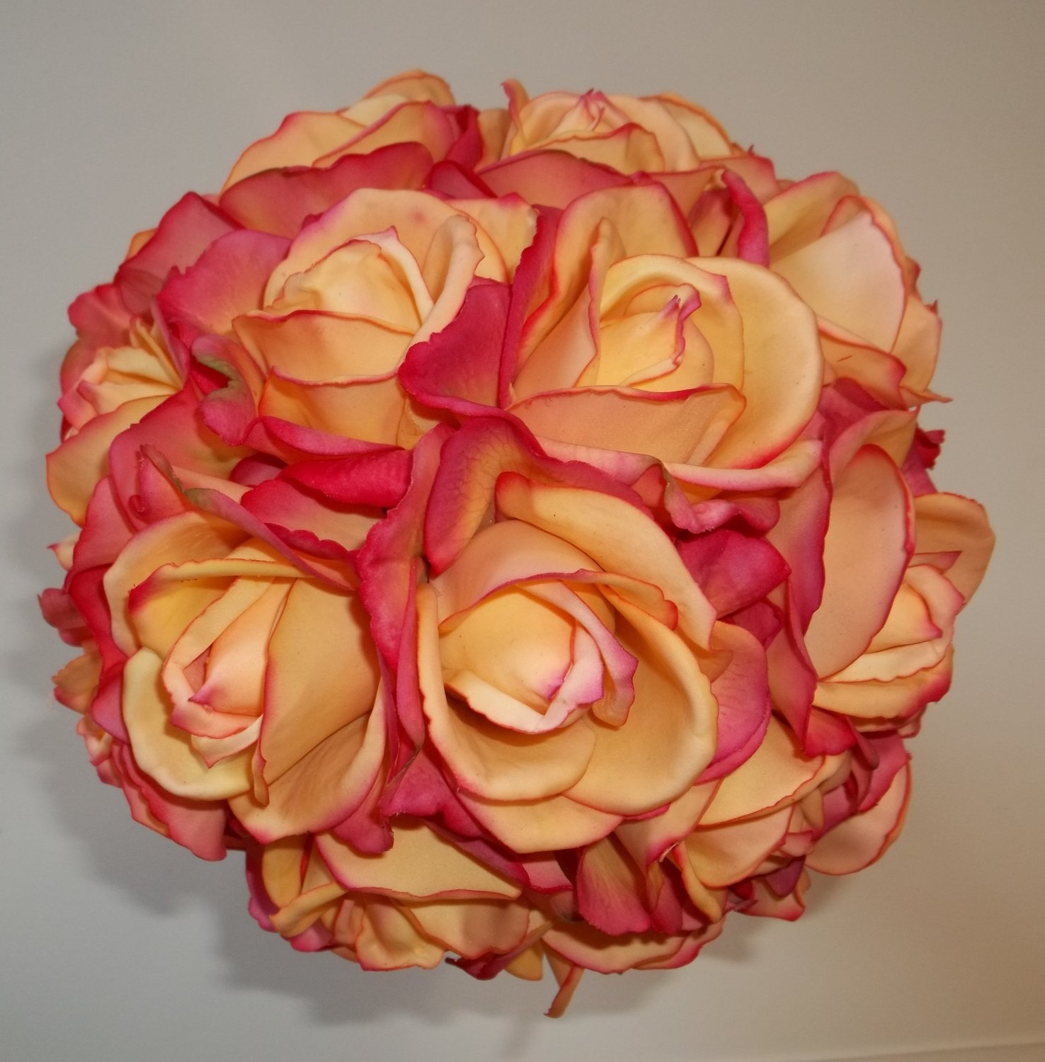 """Extra Large 11"""" Round Wedding Bouquet with  True Touch Open Faced Roses."""